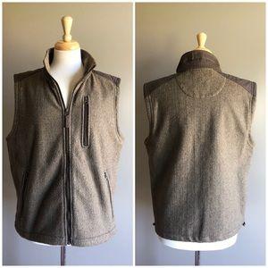 Orvis Brown Tan Fleece Zip-Up Outdoor Vest